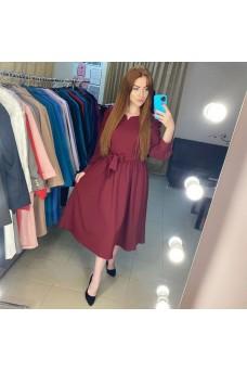 Платье миди бордо