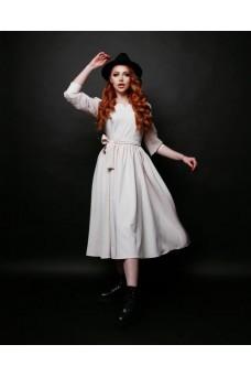 Платье миди молочное